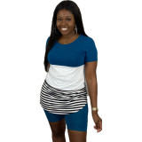 Plus Size Casual Striped T Shirt And Shorts Set LUO-3054