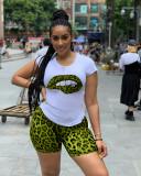 Plus Size Leopard Print T Shirt And Shorts 2 Piece Sets QY-5130