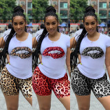 Plus Size Leopard Print T Shirt And Shorts 2 Piece Sets QY-5130-1