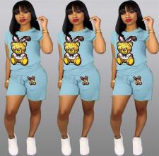 Plus Size Cartoon Print Shorts 2 Piece Set QY-5090-3
