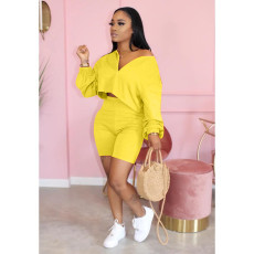 Plus Size Casual Solid Long Sleeve 2 Piece Sets QY-5171