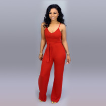 Solid Color Spaghetti Strap Slim Jumpsuit MTY-6160-1