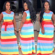Plus Size Rainbow Striped Sleeveless Sashes Maxi Dresses MTY-6186-1