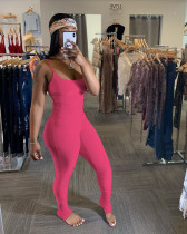 Copy Solid Ruched Spaghetti Strap Bodycon Jumpsuits YH-5131