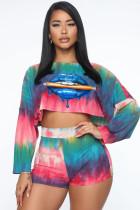 Plus Size Tie Dye Lips Print Two Piece Shorts Sets CL-6048