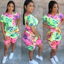 Casual Printed Short Sleeve Two Piece Sets CM-719