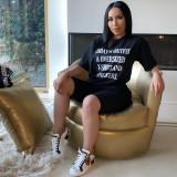 Letter Print T Shirt Shorts Casual 2 Piece Sets FNN-8360-1