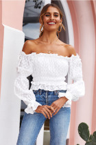 Solid Slash Neck Off Shoulder Long Sleeve Tops OSM-G8005