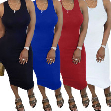 Plus Size Solid Sleeveless Ruched Midi Tank Dress BGN-052
