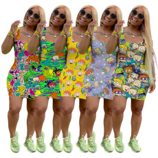 Plus Size Cartoon Print Sleevelees Mini Tank Dress FSL-081