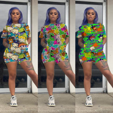 Plus Size Cartoon Print Short Sleeve Two Piece Sets FSL-080