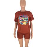 Plus Size Letter Pattern Short Sleeve Sports 2 Piece Set FNN-8199-1