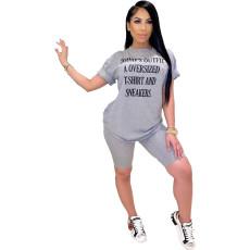 Letter Print T Shirt Shorts Casual 2 Piece Sets FNN-8360-2