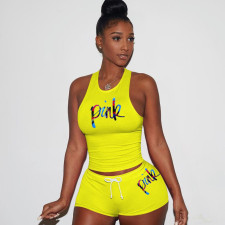 Pink Letter Print Tank Top Shorts 2 Piece Set Plus Size RSN-743