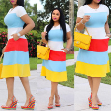 Round Neck Color-block Striped Short Sleeve Midi Dress PN-A6445