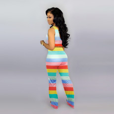 Rainbow Stripe Tank Top And Pants 2 Piece Suits WSM-A5136