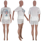 Cartoon Print T Shirt And Shorts Two Piece Sets CYAO-8540-1