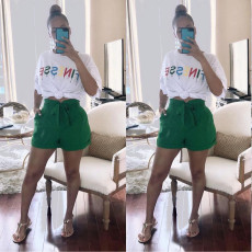 Casual Letter Print T Shirt Shorts Two Piece Suits OJS-X9195