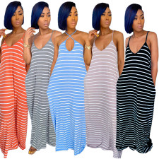 Casual Loose Stripe Long Full Slip Dresses LQ-Y5823