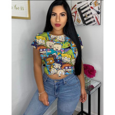 Cartoon Print Short Sleeve O Neck T Shirt MIL-L093