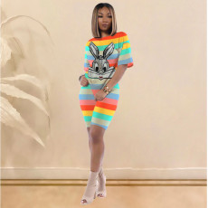 Colored Stripe Sequined Two Piece Shorts Set OJS-X9199