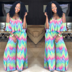 Gradient Tie Dye Ruffled Top Wide Leg Pants Suit PN-A6560