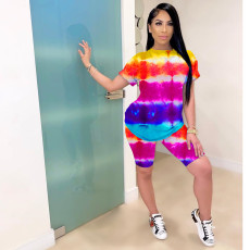 Fashion Casual Rainbow Tie-dye Two Piece Set MOY-H5182
