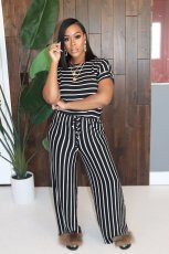 Casual Stripe Short Sleeve Jumpsuits MOS-M1068