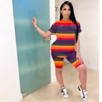 Casual Striped Gradient Pritned 2 Piece Shorts Set ARM-C8165