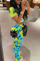 Tie Dye Print Stacked Pants Short Sleeve 2 Piece Sets MOY-H5188