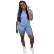 Plus Size Solid T Shirt Shorts Two Piece Suits LP-S6199
