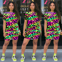 Leopard Tie Dye Print Short Sleeve Two Piece Suits MOY-H5189