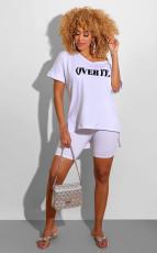 Letter Print V Neck T Shirt Shorts 2 Piece Sets SFY-H107