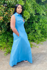 Solid Sleeveless Buttons Long Maxi Shirt Dresses SHA-6137