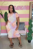 Tie Dye Elastic Waist Short Sleeve Midi Dress SHD-D9236