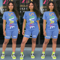 Letter Printed Short Sleeve T-shirt Shorts Sports Suit MIL-L094