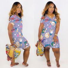 Plus Size Cartoon Print V Neck Short Sleeve Dress MTY-M6310