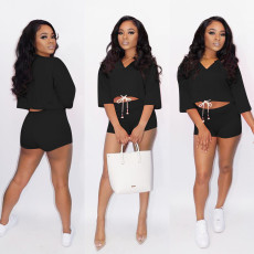 Plus Size Solid Casual Two Piece Shorts Set MTY-M6307