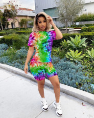 Tie-dye Printed Short-Sleeved T-shirt Shorts Suit MIL-L097