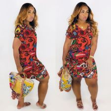 Plus Size Cartoon Print V Neck Short Sleeve Dress MTY-M6310