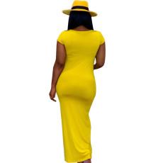 Solid Short Sleeve Slim Fit Long Maxi Dress SFY-105