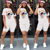 White Cartoon T Shirt And Shorts Two Piece Sets ML-M7310