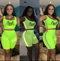 Pink Letter Print Reflective Strip 2 Piece Shorts Sets ML-M7316