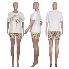 Casual Leopard Lips Print Two Piece Shorts Set NIK-109
