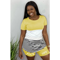 Casual Striped Letters Two Piece Shorts Set ML-M7311