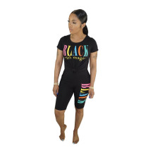 Letter Print T Shirt And Shorts Two Piece Suits BN-B9224