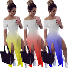 Gradient Slash Neck High Split Long Dresses NIK-114