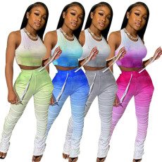 Gradient Tank Top Stacked Pants Slim Two Piece Sets YF-9631