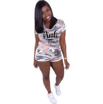 Pink Letter Print Camouflage 2 Piece Shorts Set LUO-B3056