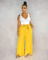 Casual Flax High Waist Sashes Loose Long Pants MIL-L099